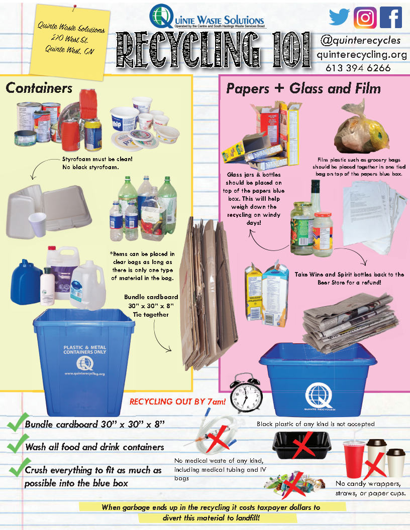 "Containers: Styrofoam must be clean. Items can be placed in clear bags as long as there is only 1 type of material in the bag. Bundle cardboard 30"" x 30"" x 8"" tie together. Paper & Glass: Glass jars & bottles should be placed on top of papers in the blue box. Film plastics such as Grocery bags should be placed tother in 1 tied bag. Wine & spirit bottles should go back to the store. Wash all food & drink containers. Crush everything to fit as much as possible into the blue box. No medical waste acceptable. No candy wrappers, straws or paper cups. No black styrofoam or plastic containers."