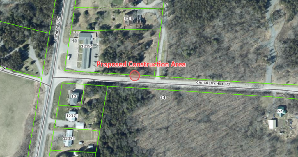 Map showing the area where the work is taking place on Chuckery Hill Road