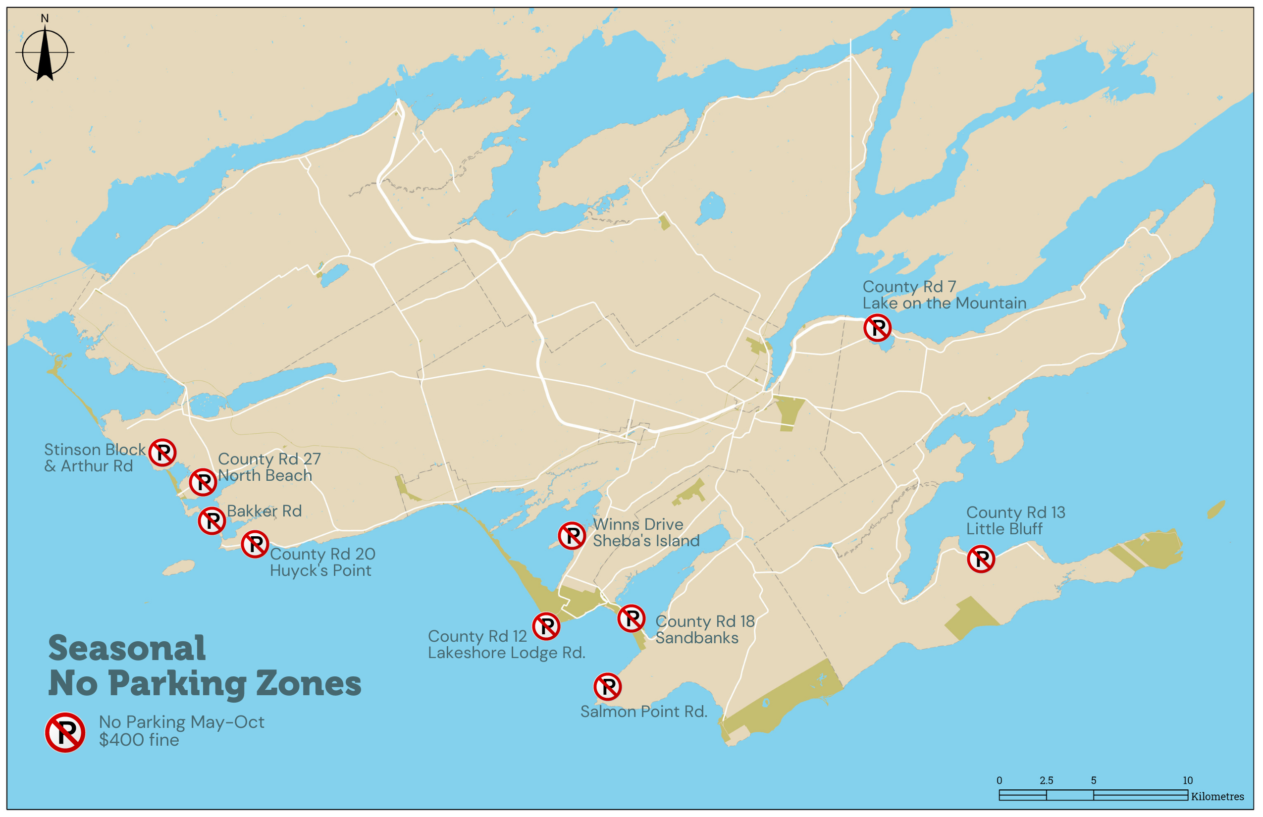Map of Prince Edward County with seasonal no parking zones labeled on them.