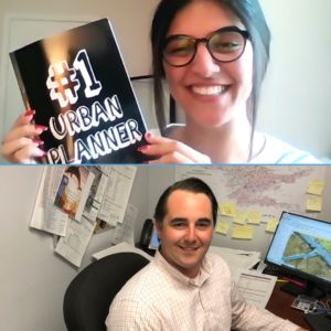 """Two images of Jaspreet Deol and Dale Egan smiling at the camera while holding the """"tools of the trade"""""""