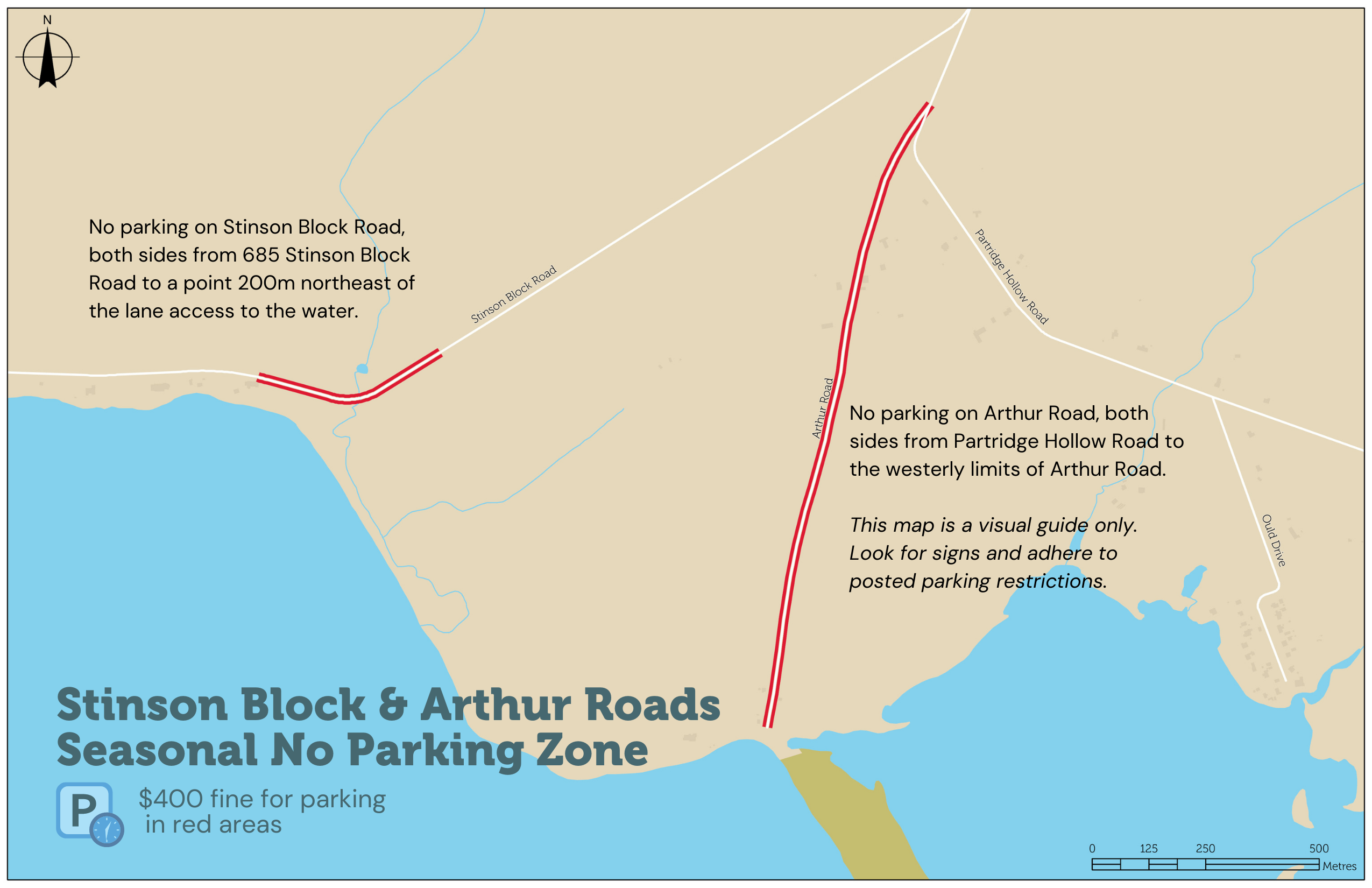 A map depicting seasonal no parking zones on Stinson Block and Arthur Roads in the Consecon area