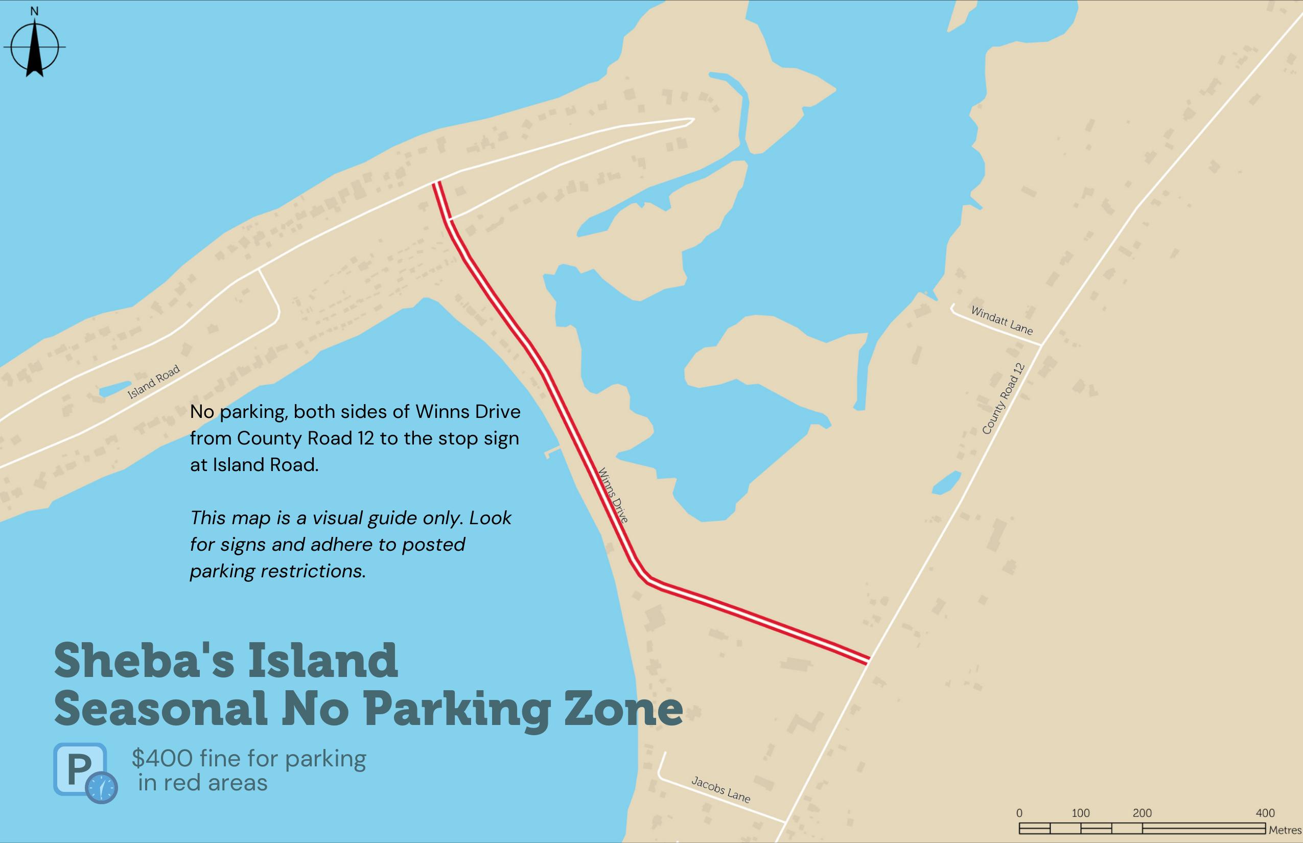 Map depicting the seasonal no parking zone along Winn's Drive heading to Sheba's Island.